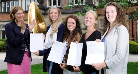 pupils receive A level results outside Harrogate Ladies College