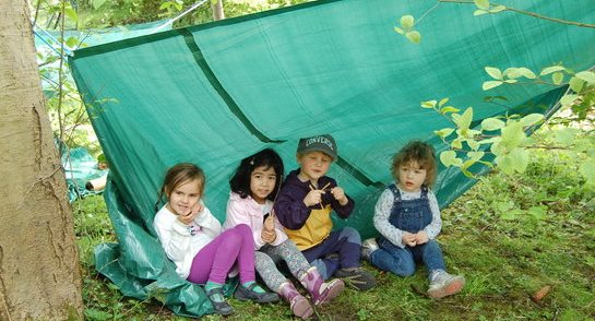 Bankfield Nursery and Pre-Prep pupils building shelters as part of the Forest School programme