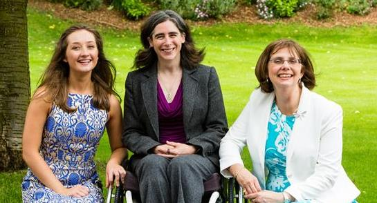 (left to right) Phoebe Topham (Head Girl), British Paralympian Claire Harvey and Sylvia Brett (Principal of Harrogate Ladies' College