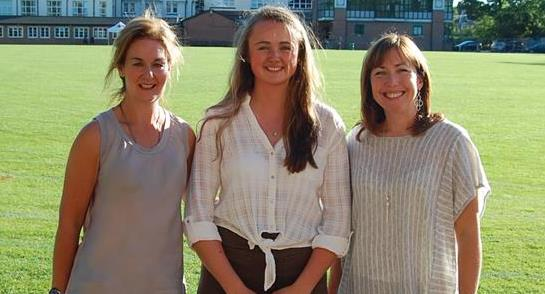 Members of the Yorkshire Rows all female Atlantic rowing crew with Harrogate Ladies' College Sport Prefect, Alexandra Skinner