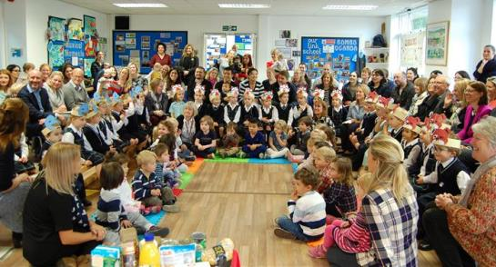 Bankfield Nursery and Pre-Prep and Highfield Reception pupils gather for the Harvest Sing