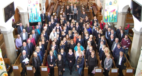 Come and Sing Visitors and Chapel Choir at Harrogate Ladies' College
