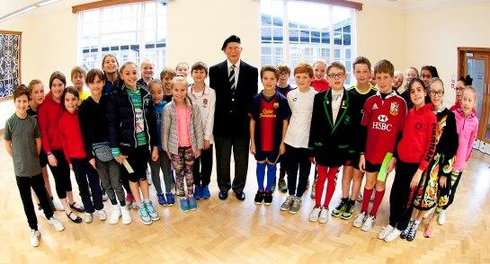 Year 6 pupils at Highfield Prep School with Mr Burn
