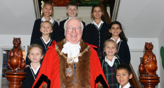 Mayor of Harrogate with Highfield Prep School Council pupils