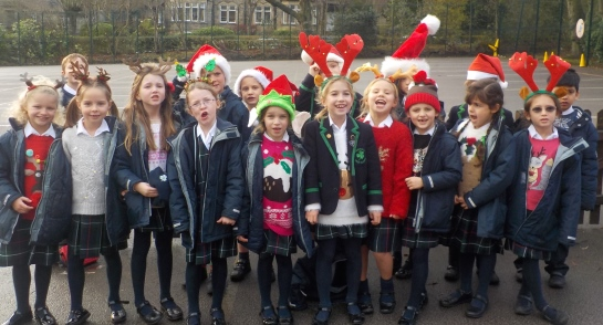 Highfield pupils show off their Christmas jumpers, hats and antlers!
