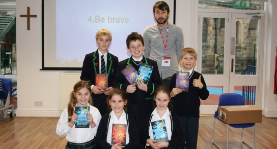 Highfield pupils with Mabel Jones author Will Mabbitt