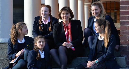 Harrogate Ladies' College Principal, Sylvia Brett, with pupils from the school