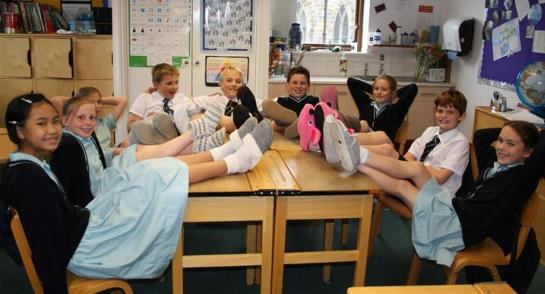 Highfield Prep School children wearing their slippers in class