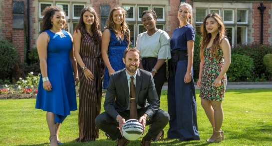 Mr Gareth Southgate and Upper Sixth Harrogate Ladies' College pupils, and