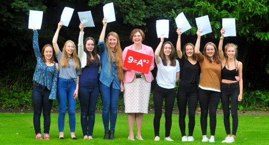 Sylvia Brett, Principal and pupils celebrate record breaking GCSE Results