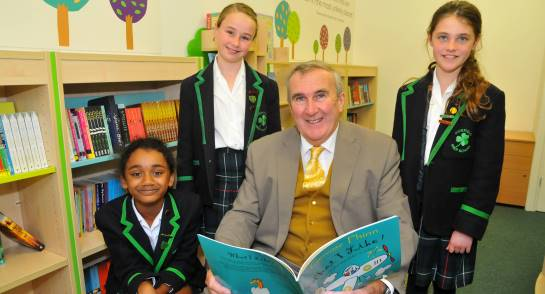 Mr Gervase Phinn and pupils at Highfield Prep School