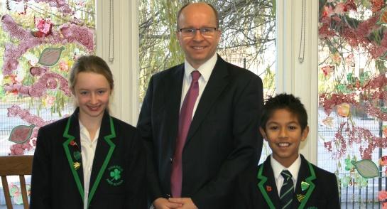 James Savile, Head of Highfield and the Head Girl and Head Boy