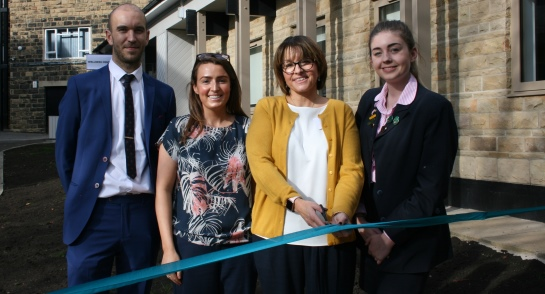 Director of Wellness Richard Farnan; Assistant Director of Wellness Laura Brookes; Shaw Mind Foundation CEO Kate Majid; and the School's Wellness Prefect Mollie Wilson at the official Wellness Centre opening at Harrogate Ladies' College
