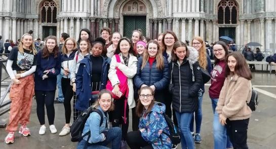 Harrogate Ladies' College Chapel Choir outside St Mark's Basilica