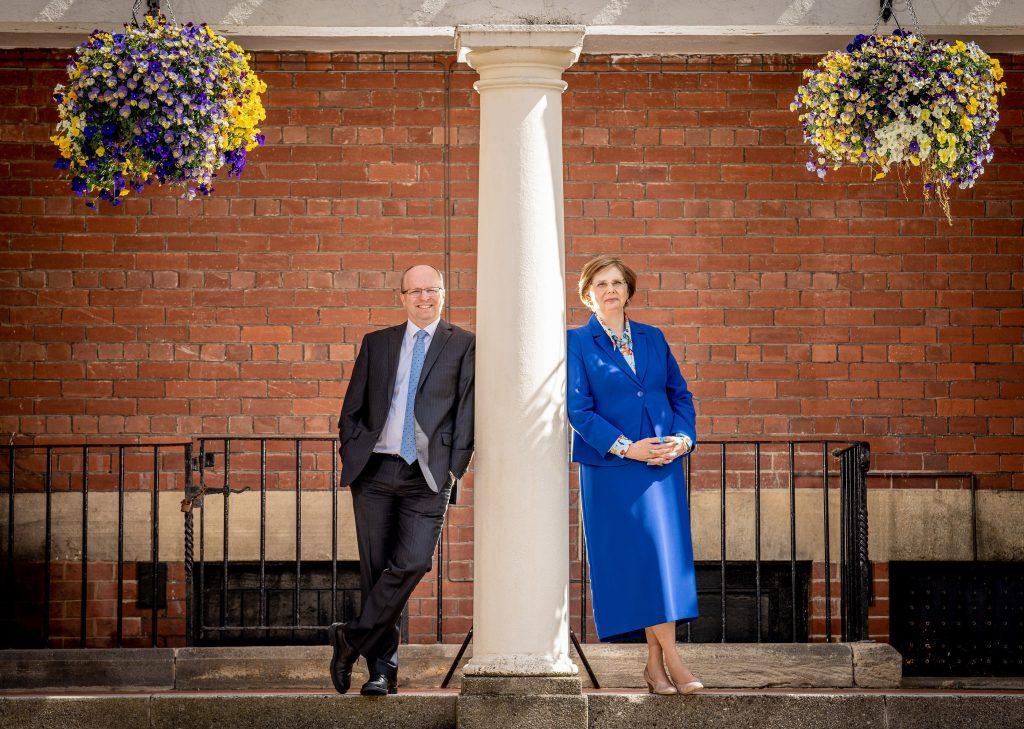 Head of Highfield Prep School, Mr James Savile and Principal of Harrogate Ladies' College, Mrs Sylvia Brett