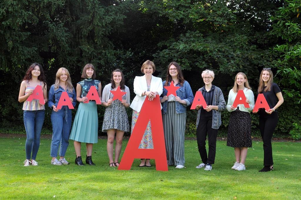 Sylvia Brett, Principal of Harrogate Ladies' College and pupils celebrate achieving impressive A levels